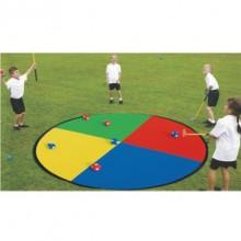 키드짐 - 팝업타겟(십자형) 지름150cm 타겟, 후크볼(빨강3개 파랑3개)